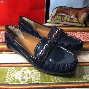 """Bass navy patent """"Betsy"""" comfort loafer shoe"""